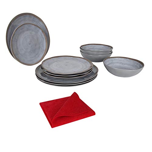 Moritz Juego de vajilla de melamina para 4 personas, 12 piezas + 1 paño de microfibra, color rojo, vajilla de camping, vajilla de mesa, mesa gris, diseño de terracota