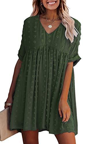 ECOWISH Women Summer Dress V-Neck Polka Dot Short Sleeve Casual Loose Flowy Swing Tunic Dresses Army Green X-Large
