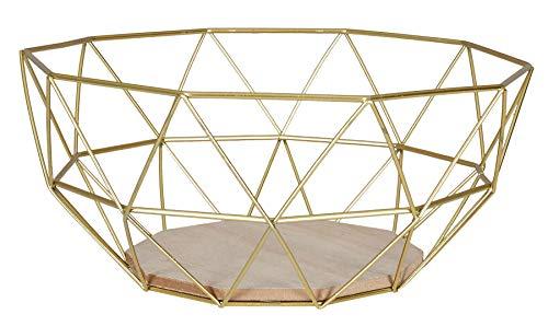 levandeo Korb Metall Gold 26x12cm Obstkorb Modern Holz MDF Braun Schüssel Schale Deko Obstschale Tischdeko