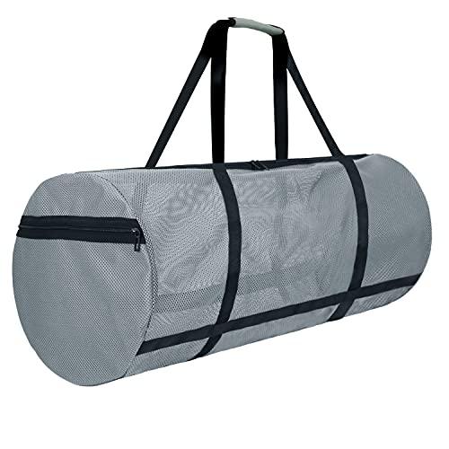 LIVACASA Dive Bag Mesh 100L Large Zipper Side Pockets 35.4In Quick Dry Diving Equipment Bag Beach Duffel Snorkeling Gear Bag Gray