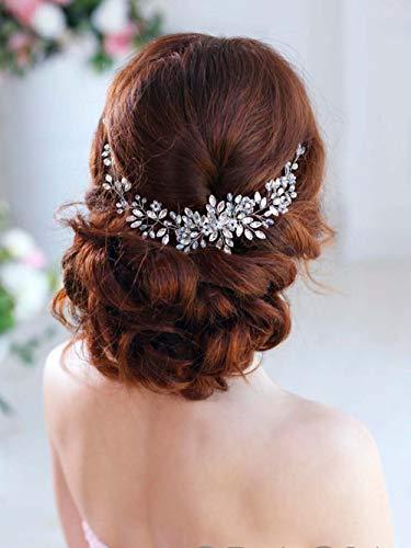 Simsly Kristall Hochzeit Haar Reben Silber Stirnband Braut Kopfschmuck Hochzeit Haarschmuck Haarteil für Braut und Brautjungfern