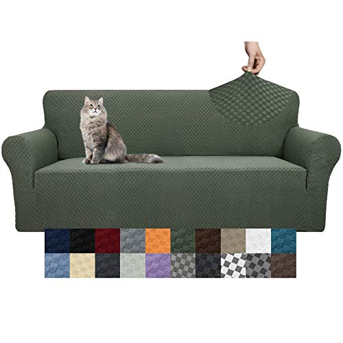 YEMYHOM Couch Cover Latest Jacquard Design High Stretch Sofa Covers for 3 Cushion Couch, Pet Dog Cat Proof Slipcover Non Slip Magic Elastic Furniture Protector (Sofa, Army Green)