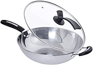 With Tempered Glass Lid Wok,Frying Pan,Thickened Food Grade Stainless Steel Wok, High Temperature Resistant Handle, Suitab...