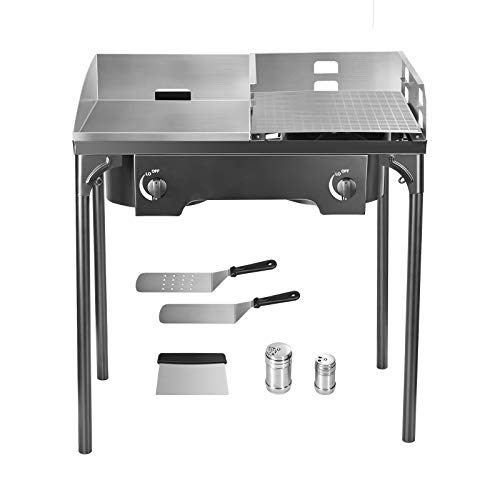 """TELAM Gas Flat Top Grill,2 Burner + 16 x14"""" Frying Pan + 17 x 14"""" Grilling Net,Propane Gas Grill Griddle Combo Stainless Steel BBQ Gas Grill with Folding Legs, Propane Gas Grill for Outdoor Use Grills Propane"""