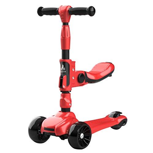 Antideslizante Scooter Patinete Niño Scooters de altura ajustables para niños de 2 a 12 años - Scooter plegable con asiento extraíble, 3 ruedas de luz LED, freno de la rueda trasera Scooters para Niño