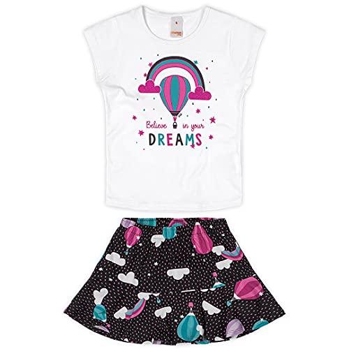 Conjunto blusa + saia em meia malha Marisol Play meninas, Branco, 6