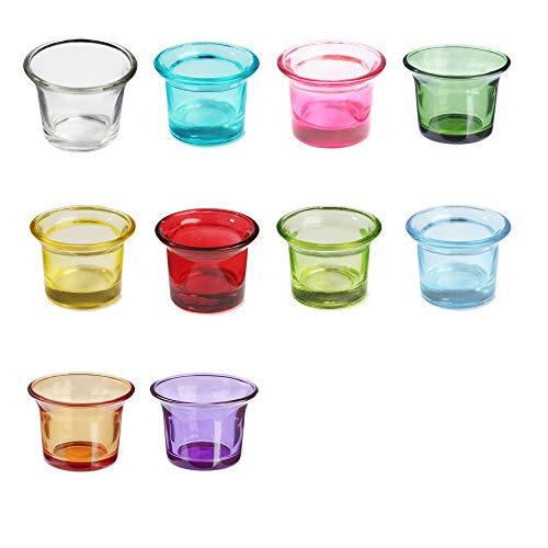 Unbekannt Teelichtglas Mix-Set Sortiert in 10 unterschiedlichen Farben, Ø 6,5 x H 4,7 cm, Inhalt: 10 Stück farblich Sortiert, Teelichthalter, Kerzenglas in Tulpenform