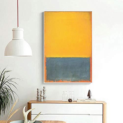 WSHIYI Mark Rothko Amarillo Azul sobre Naranja Pared Arte Lienzo Carteles Impresiones Pintura al óleo Cuadros de Pared Sala de Estar decoración del hogar / 50x70 cm (19,7x27,6 Pulgadas) sin Marco