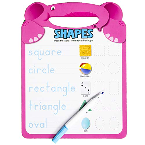 Active Minds - Shapes Write-and Erase Wipe Clean Elephant Learning Board - Ages 4 and Up