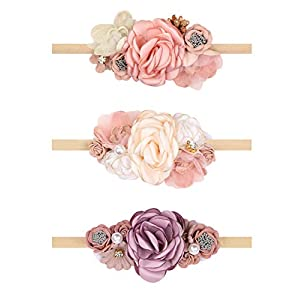 Oaoleer Baby Girl Floral Headbands, Newborn Infant Toddler Hair Accessories