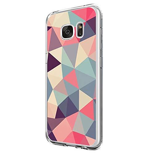 Beryerbi Hülle kompatibel mit Samsung galaxy S7 Weiche Hülle Transparente TPU Silikon für Damen Mädchen Durchsichtig mit Comic Stil Pflanze Handyhülle Silikon Hülle(Samsung galaxy S7, A)