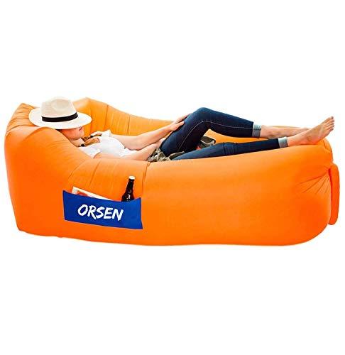 ORSEN Luft Sofa Couch, wasserdichtes aufblasbares Sofa, air Lounger, aufblasbare Liege, Luftsack mit Tragebeutel und integriertem Kissen für Indoor oder Outdoor, Reisen, Camping, Party, Meer, Strand