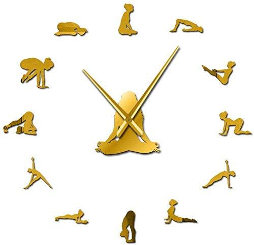 LIUXU DIY Acrílico Reloj de Pared Decoración del hogar Yoga Gym Sport Wall Clock Huge Clock Healthy Fitness Club Wall Decoration Clock Awareness Gift Gold - gold-47 Pulgadas