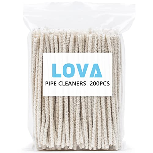 Lova 200 Pipe Cleaners for Pipe Smoking - Hard Bristle Pipe Cleaner for Glass Long White Pipe Cleaners for Cleaning - Tobacco Pipes & Accessories - Great Arts & Crafts and Repair Work