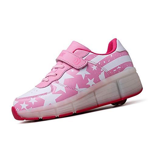 WXBYDX Automtica Ruedas Ajustables LED Zapatillas con Luces Ruedas Color Deporte Zapatos De Skate Roller Deportivos Zapatos Trainers Monopatn Sneaker para Nios Nias, Rosa, Talla 28-40pink-29