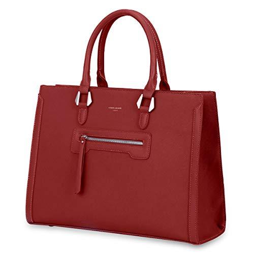 David Jones - Borsa a Mano Donna Lavoro Grande Capacità - Tote Shopper Bag Capiente PU Pelle - Borsa a Spalla Tracolla - Ventiquattrore Cartella Satchel Elegante - Ufficio Scuola Moda Città - Rosso