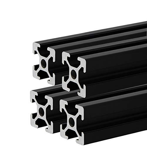 4pcs 400mm 2020 Aluminiumprofil Extrusions Frame Europäische Norm Eloxierte schwarze Linearschiene für 3D-Drucker und CNC-DIY-Lasergravurmaschine(400MM)