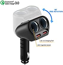 Rocketek Dual USB Quick Charge 3.0 Car Charger Adapter with Build-in 2 Way Car Splitter Adapter, 90W 12V/24V DC Outlet 2-Socket Car Cigarette Lighter for iphone/ipad/android cell phone, GPS, Car DVD