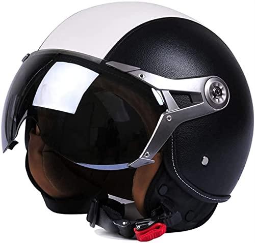 YLFC Adultos Casco Moto Jet Retro Casco Moto Abierto,ECE Homologado para Mofa Piloto Cruiser Chopper Scooter Biker Racing,3/4 Casco Moto con Visera para Mujer (Color : 5, Size : XL)