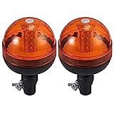 AUTOUTLET 2X Rotativo LED Flexible Luz de Advertencia Luz Ámbar Giratoria de ...