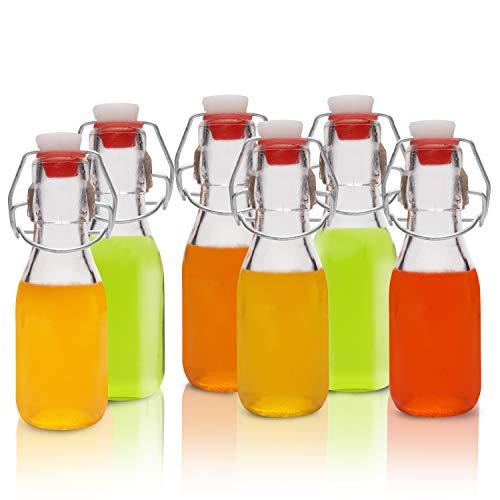 Dichte Konservierungs Flaschen aus Glas mit Bügelverschluss - 100ml Glasflaschen Einmachflaschen - Transparente Bügelflaschen für Hausgemachte Getränke, Bier, Wein, Gewürze - Luftdichter Deckel (12 Stück)