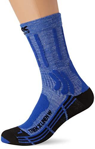 X-Socks Trek X Linen Woman Socks, Calzini da Escursionismo Donna, Lake Blue/Opal Black, 35-36