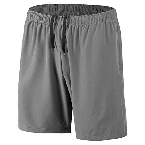 Herren Sport Shorts Schnell Trocknend Kurze Hosen mit Reißverschlusstaschen (Grau 4XL)