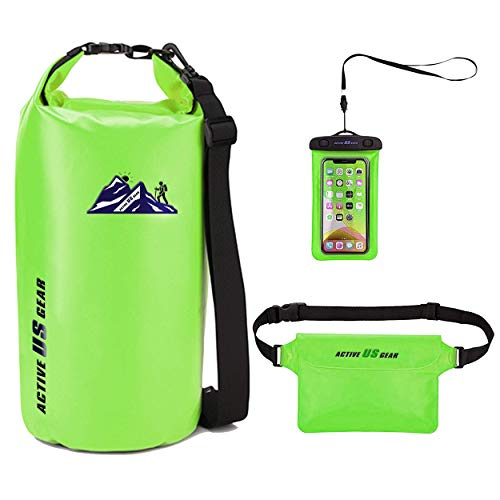 Premium Waterproof Dry Bag with Phone Pouch and Waist Bag 5L/10L/ 20L/30L,Travel Gear for Kayaking, Swimming,Rafting, Boating, Beach, Camping,Fishing, Hiking, Snorkelling (GreenNatural 5L)