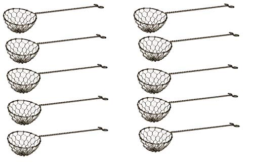 AAF Nommel ® 10er Pack Fondue-Sieb, Ø 6cm, L 22cm, Edelstahl Sieblöffel für Feuertopf, Mongolentopf