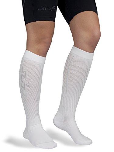 Sub Sports Herren und Damen Kompressions-Socken zur Schienbeinstützung, Knielang - Weiß - L (EU 43-46)