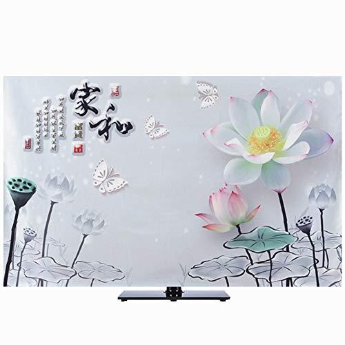 catch-L Interior Curvado Escritorio Arte De La Tela TV Flor De Loto Impresión Paño De Polvo (Color : Gray, Size : 54/55 Inches)