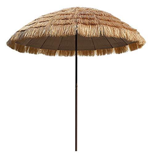 SDFGO Sombrillas Portátiles para La Playa para La Piscina De La Playa De La Mesa del Patio, 2,5 M Paja De Imitación Sombrilla para La Fiesta De Jardín Hawaiana