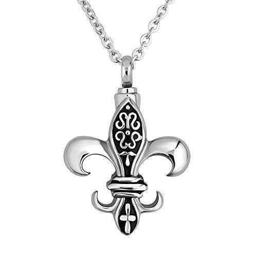 LilyJewelry Fleur De Lis Urn Necklace for Ashes Keepsake Memorial Cremation Pendant