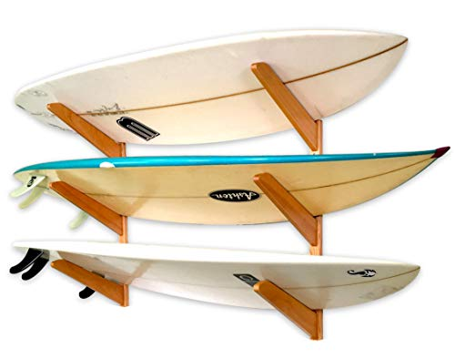 StoreYourBoard Timber Surfboard Wall Rack, Holds 3 Surfboards, Wood Home Storage Mount System, Natural