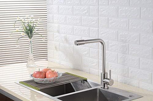 MBYW Grifo de Cocina Grifo para Fregadero de Cocina Diseño Clásico y Profesional Agua Fría y Caliente Acero inoxidable 304 fregadero cepillado lavabo grifo de agua caliente y fría cocina agujero único