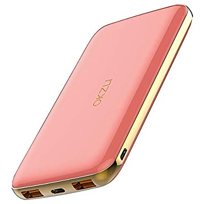 OKZU 10000mAh USB C Power Bank, Quick Charge 3.0 Power Delivery Fast Charging Portable Charger, 18W PD External Battery Pack for iPhone, Pixel, Samsung, Huawei, Nintendo Switch etc.(Pink)