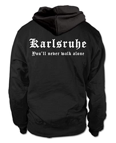 shirtloge - Karlsruhe - You'll Never Walk Alone - Fussball Fan Kapuzenpullover Hoodie - Größe XXL