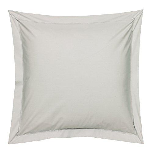 Blanc des Vosges Uni Percale Taie Coton Platine 65 x 65 cm
