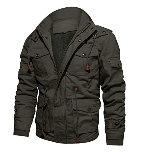 CRYSULLY Men's Winter Fleece Warm Stylish Classic Cargo Jacket Coat Stand Collar Army Green/US XS/tagL