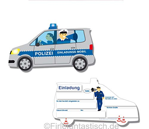Einladungskarten Polizei 6 Stk.