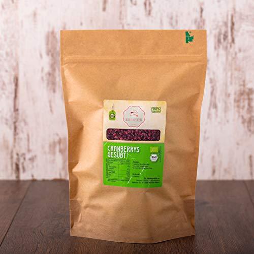 süssundclever.de - Bio Cranberries, getrocknet & gesüßt | 1 kg | ohne raffiniertem Zucker | 100% Naturprodukt | plastikfrei und ökologisch-nachhaltig abgepackt | Preiselbeeren