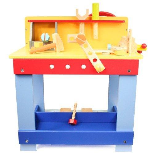 Kinderwerkbank / Auto-Fahrsimulator Kinder-Werkbank | Kinder Hobelbank | doppelseitiges Spielvergnügen | große Ablageflächen | Lenkrad und Schalthebel | stabil und standsicher | kreative Spielergebnisse | Holzspielzeug Peitz - 2