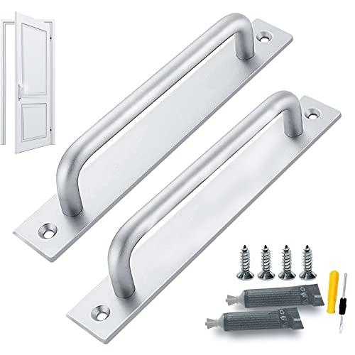 GZLCEU 2 tiradores de puerta corredera de aleación de aluminio con 4 tornillos, 2 adhesivos sin clavos y 1 destornillador para cocina, jardín, oficina, garaje
