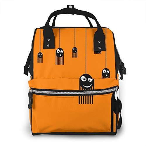 Baby Wickelrucksack Orange Monsterspinnen, Multifunktional Wickeltasche Reise Rucksack Große Kapazität Babytasche Mit Wickelunterlage, Passform für Kinderwage