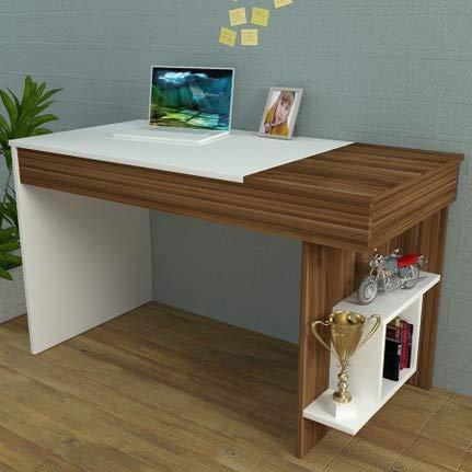 Homidea Hidden Schreibtisch - Computertisch mit Regal in modernem Design (Weiß/Nussbaum)