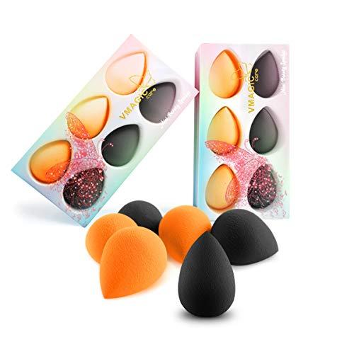 VMAGIC Mini Premium Makeup Sponge Beauty Foundation Sponge Blender for Flawless, Blend Foundation and Highlighter (3 Orange + 3 Black)
