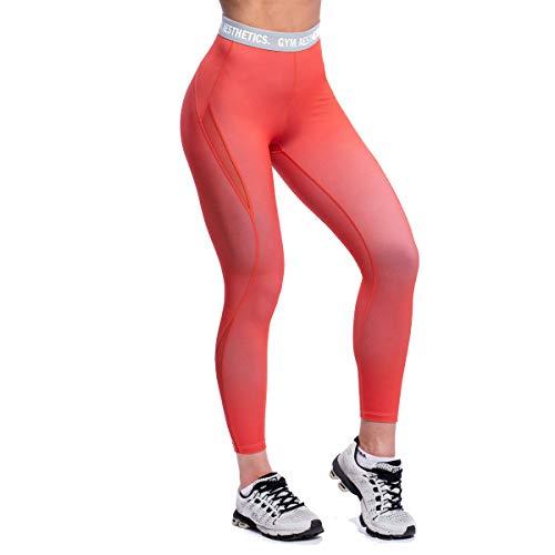 GYM AESTHETICS | Mallas deportivas multiplied para mujer, pantalones de yoga, opacos, de secado rápido, ropa urbana, para yoga y otros deportes. coral S