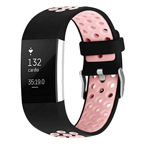 ibasenice Pulseiras de reposição de silicone com pulseira de relógio inteligente ajustável para Fitbit Charge 2 Tamanho grande (preto e rosa)