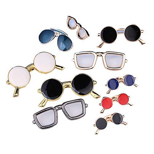Broche de solapa, 10 unidades, diseño de gafas de sol, para mujeres, bolsos de ropa, mochilas y sombreros