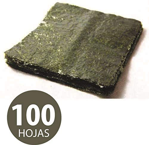 100 Hojas Completa de Alga Nori para Sushi de 20cm x 21cm Aprox